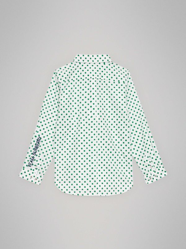 Polka Dot Cotton Oxford Shirt in Emerald Green | Burberry - cell image 3