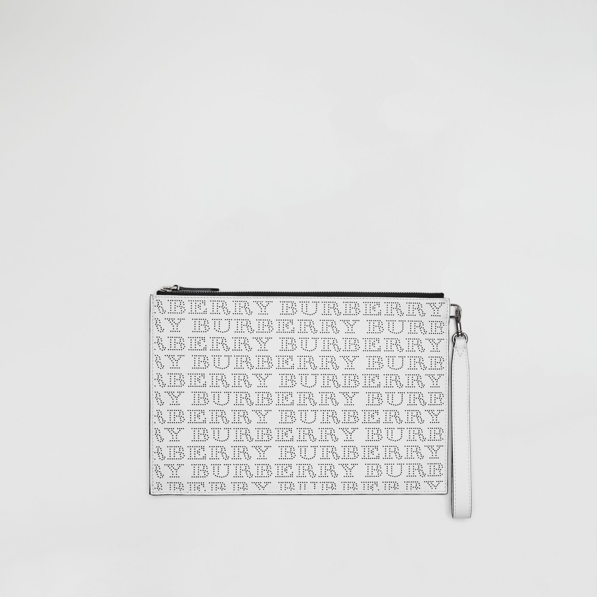 Perforated Logo Leather Zip Pouch in Optic White | Burberry - gallery image 0