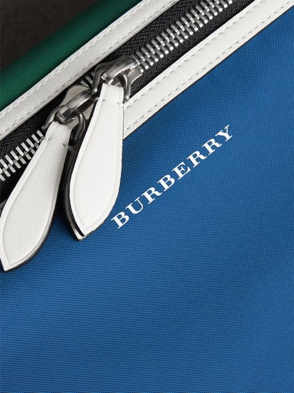 Large Tri-tone Nylon and Leather Bum Bag in Dark Canvas Blue | Burberry - cell image 1