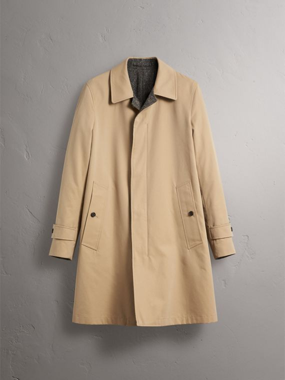 Reversible Gabardine and Donegal Tweed Car Coat in Honey - Men | Burberry Australia - cell image 3