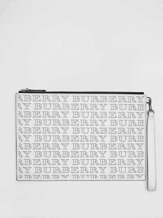 Perforated Logo Leather Zip Pouch in Optic White