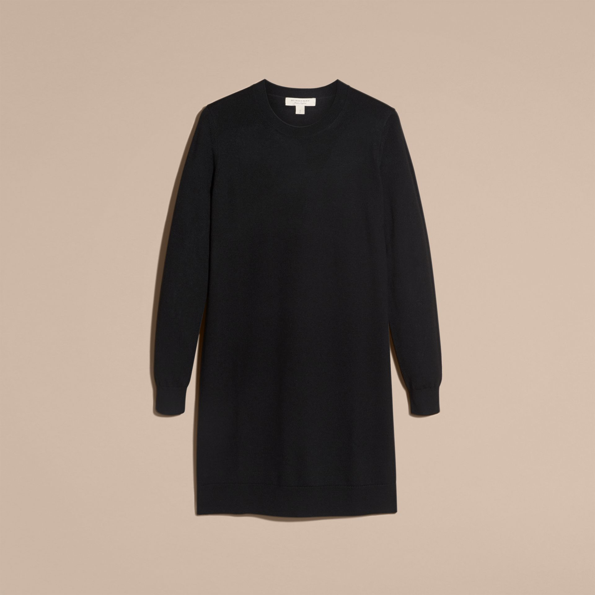 Check Elbow Detail Merino Wool Sweater Dress Black - gallery image 4
