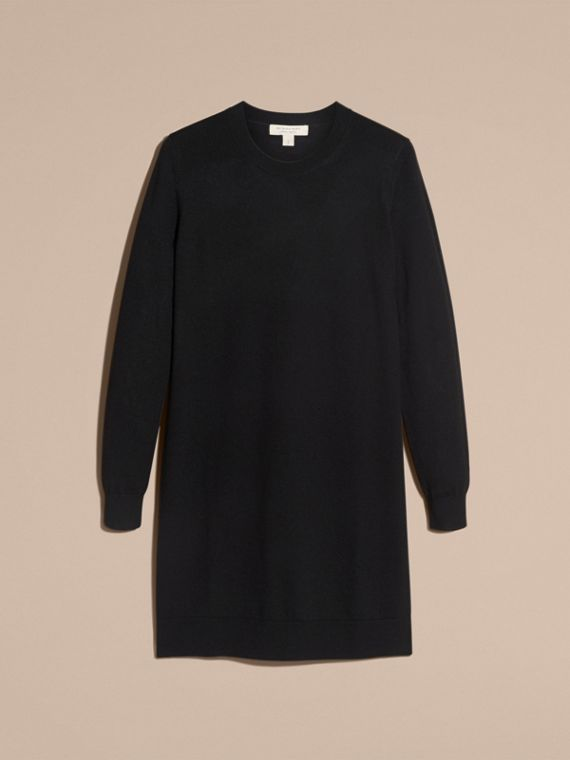 Check Elbow Detail Merino Wool Sweater Dress Black - cell image 3