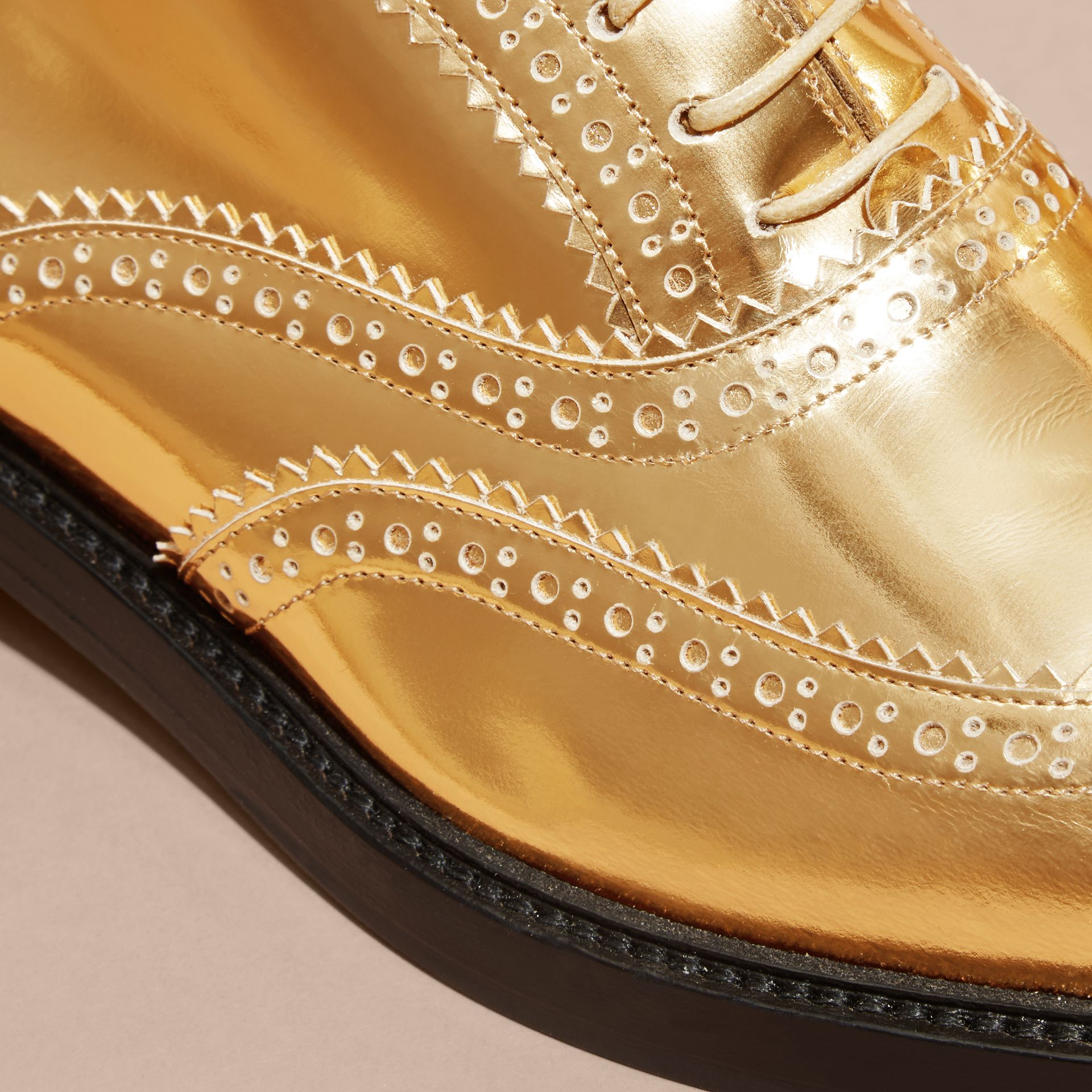 Metallic Leather Wingtip Brogues Antique Gold - gallery image 2