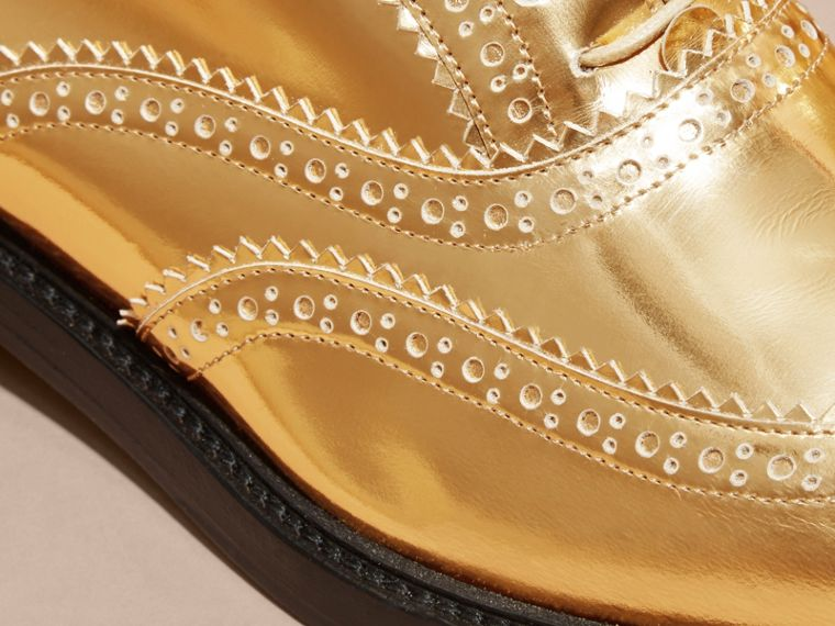 Metallic Leather Wingtip Brogues Antique Gold - cell image 1