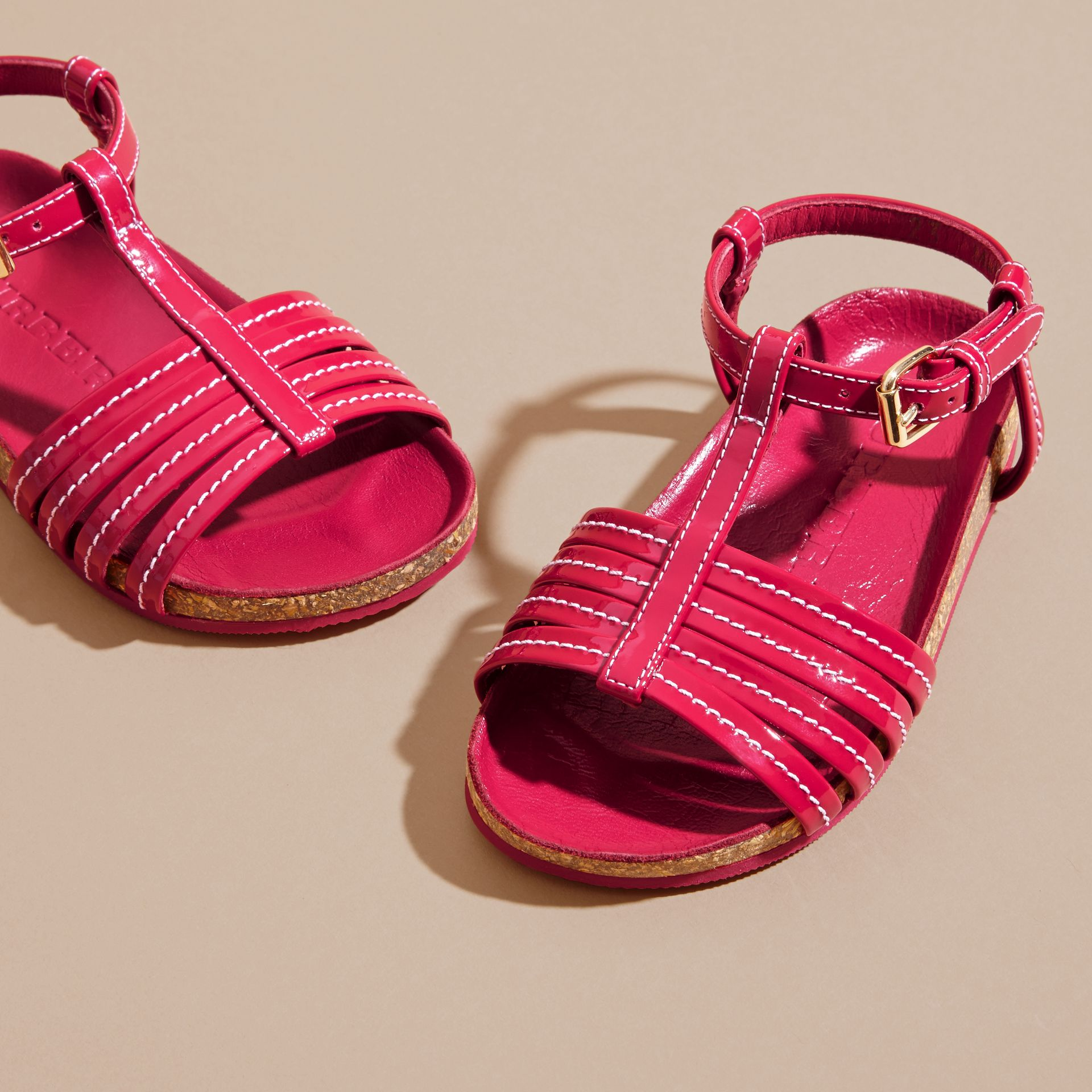 Cork Detail Patent Leather Sandals in Berry Pink | Burberry United Kingdom - gallery image 3