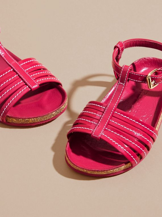 Cork Detail Patent Leather Sandals in Berry Pink | Burberry United Kingdom - cell image 2