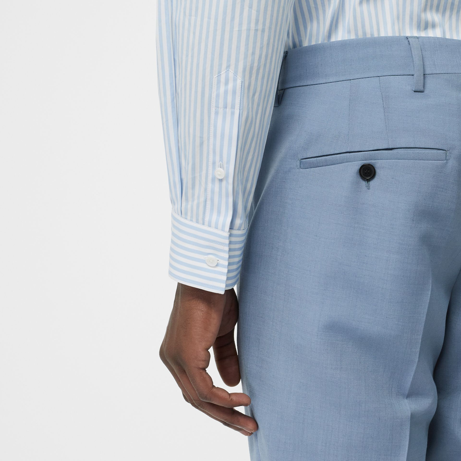Classic Fit Wool Tailored Trousers in Pale Blue - Men | Burberry United Kingdom - gallery image 1