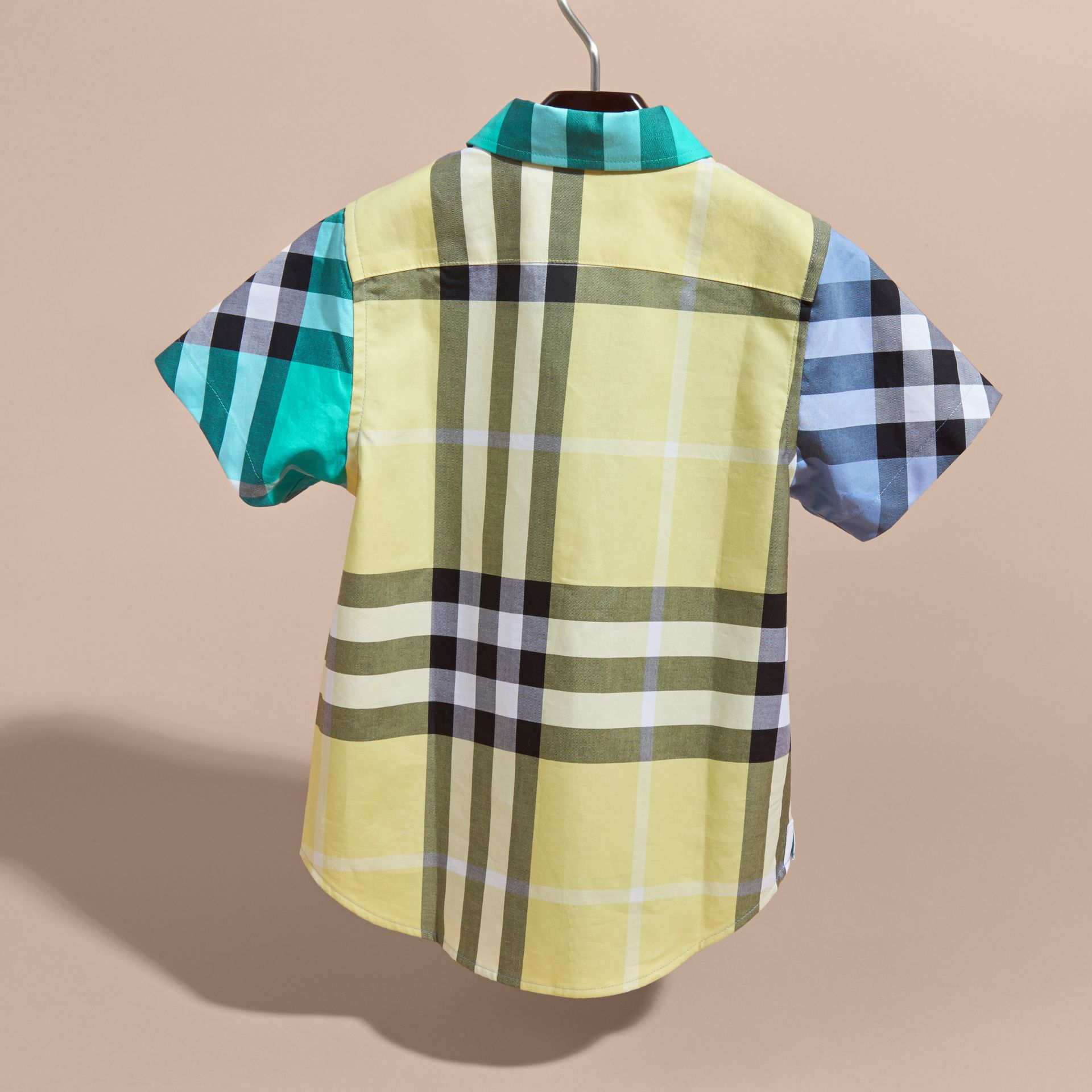 Short-sleeved Contrast Check Cotton Shirt Cyan Green - gallery image 4