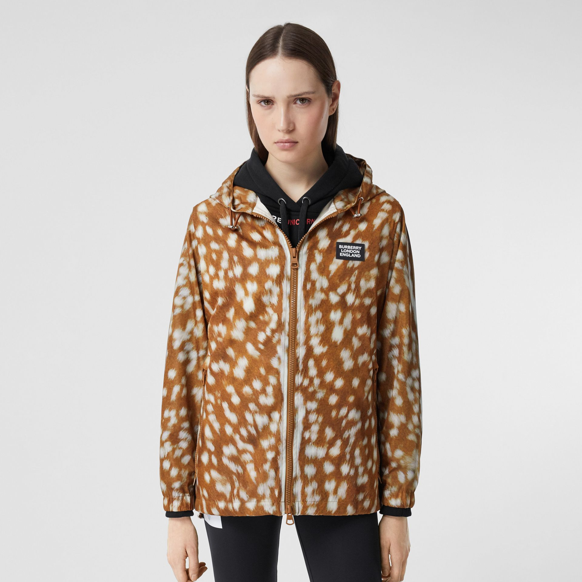 Deer Print ECONYL® Hooded Jacket in Honey - Women | Burberry - gallery image 5