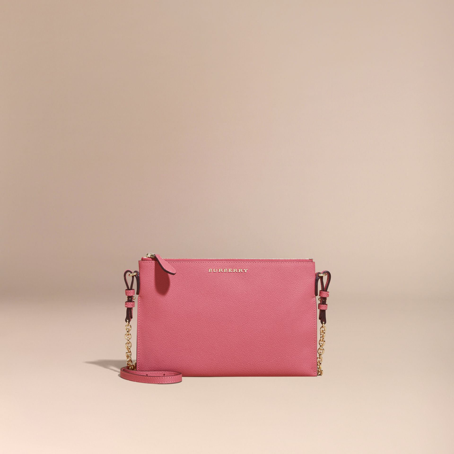 Leather Clutch Bag with Check Lining Pink Azalea - gallery image 9