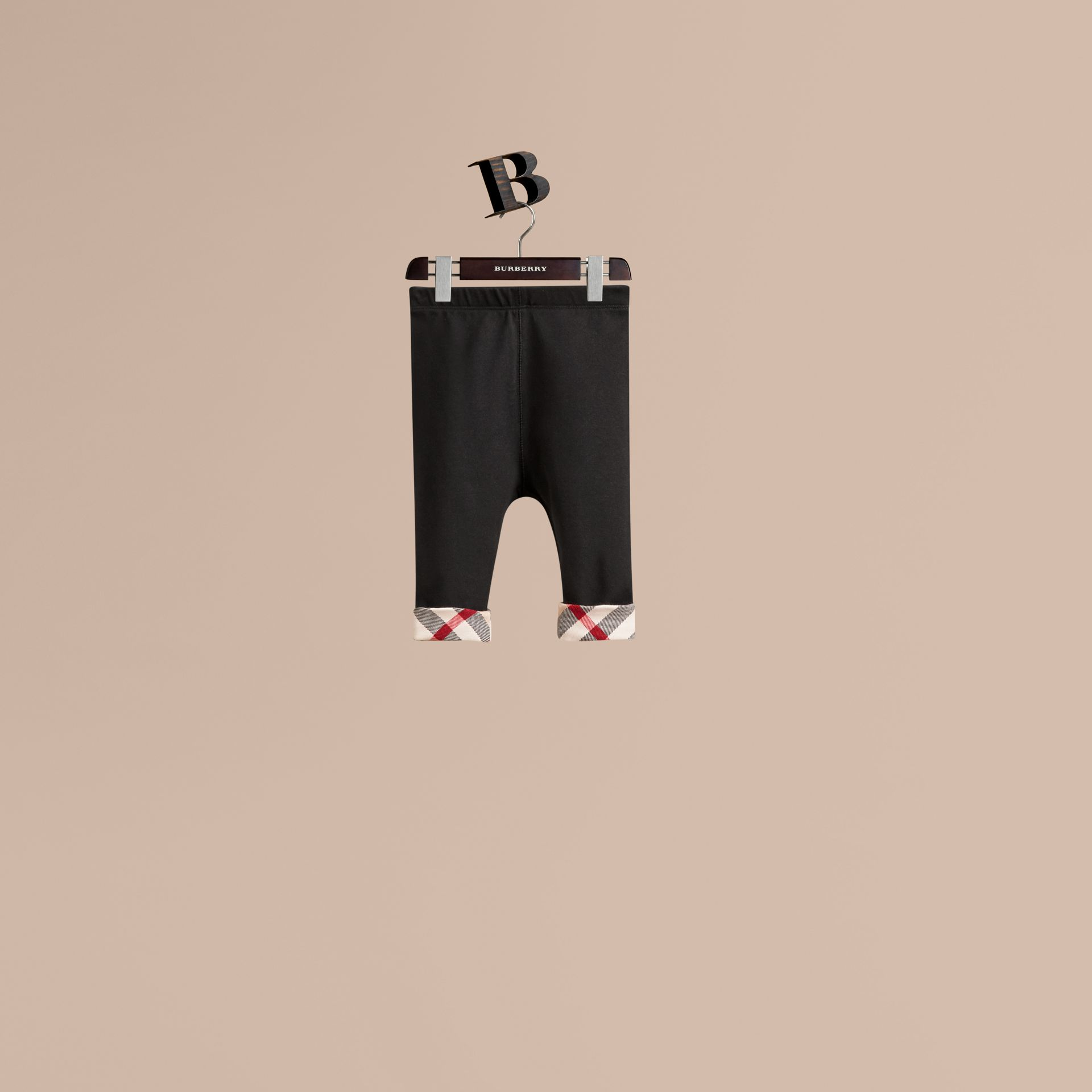 Check Detail Cotton Leggings in Black - Girl | Burberry - gallery image 1