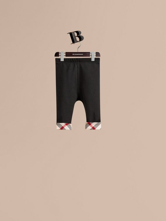 Check Detail Cotton Leggings - Girl | Burberry