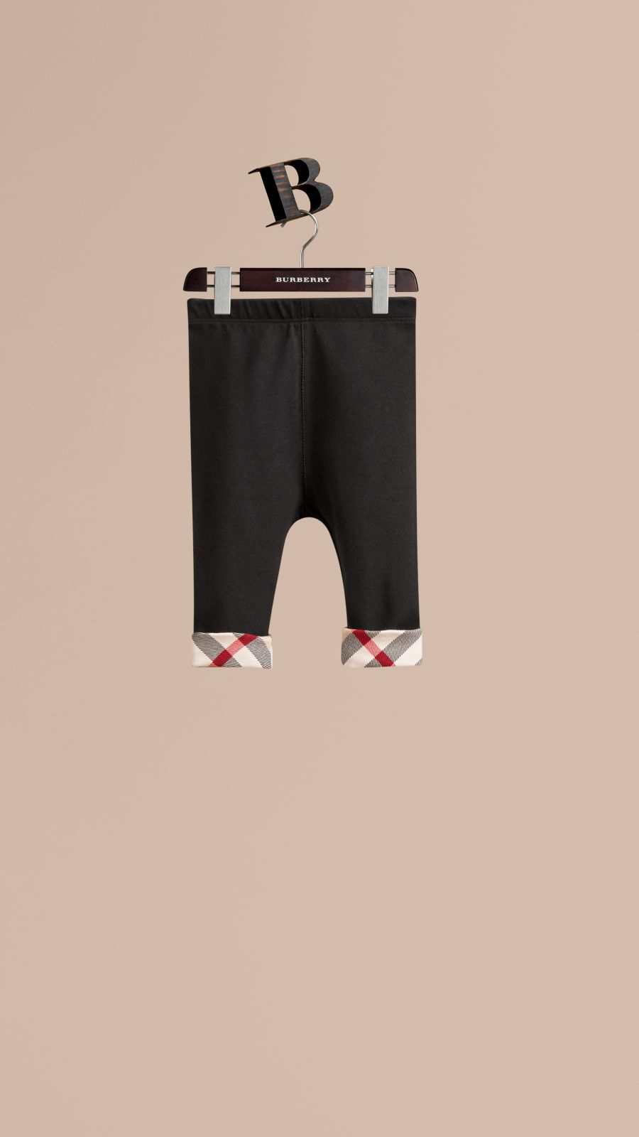 Black Check Detail Cotton Leggings Black - Image 1