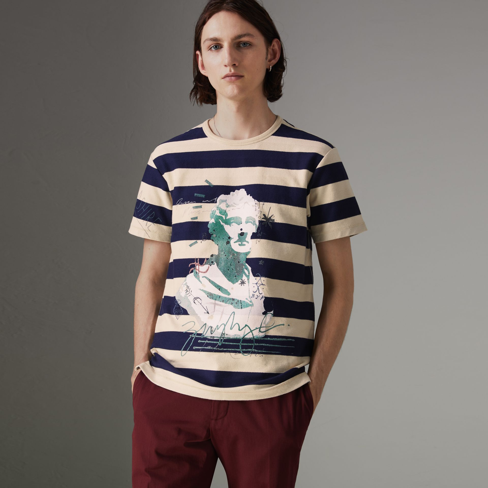 Bust Print Striped Cotton T-shirt in Off White/navy - Men | Burberry United Kingdom - gallery image 0