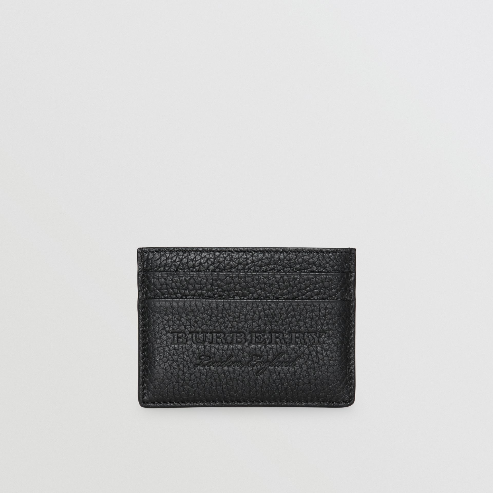 Textured Leather Card Case in Black | Burberry - gallery image 2