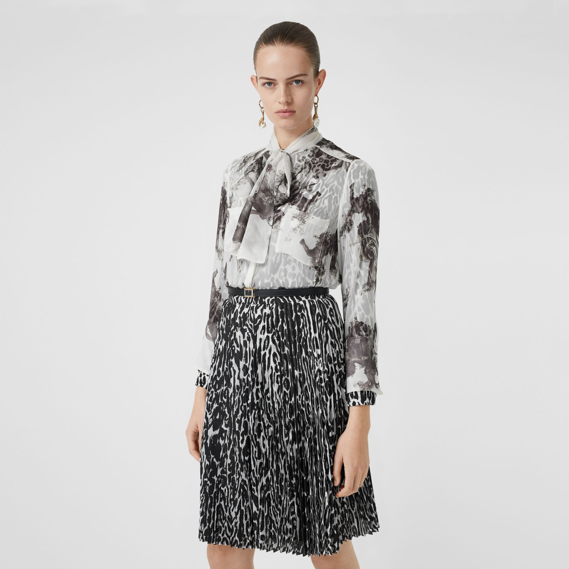 Angel Print Silk Chiffon Pussy-bow Blouse in Black - Women | Burberry United Kingdom - gallery image 0