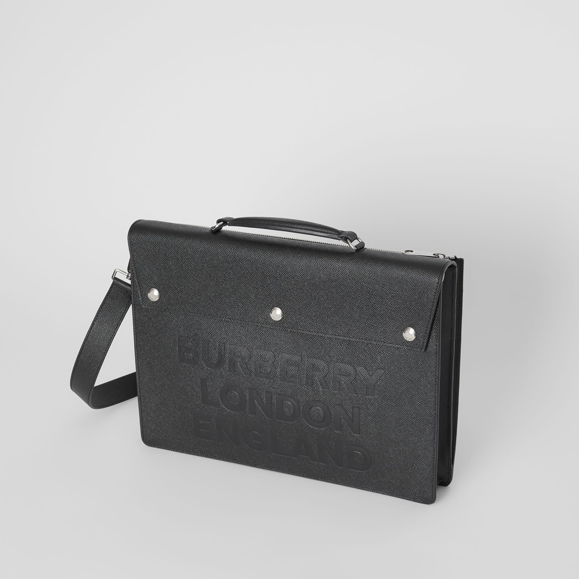 Porte-documents en cuir à triple pression avec logo (Noir) | Burberry - photo de la galerie 3