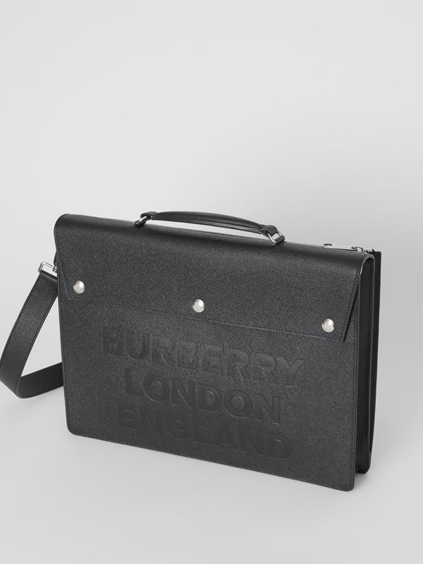 Triple Stud Logo Embossed Leather Document Case in Black | Burberry United States - cell image 3