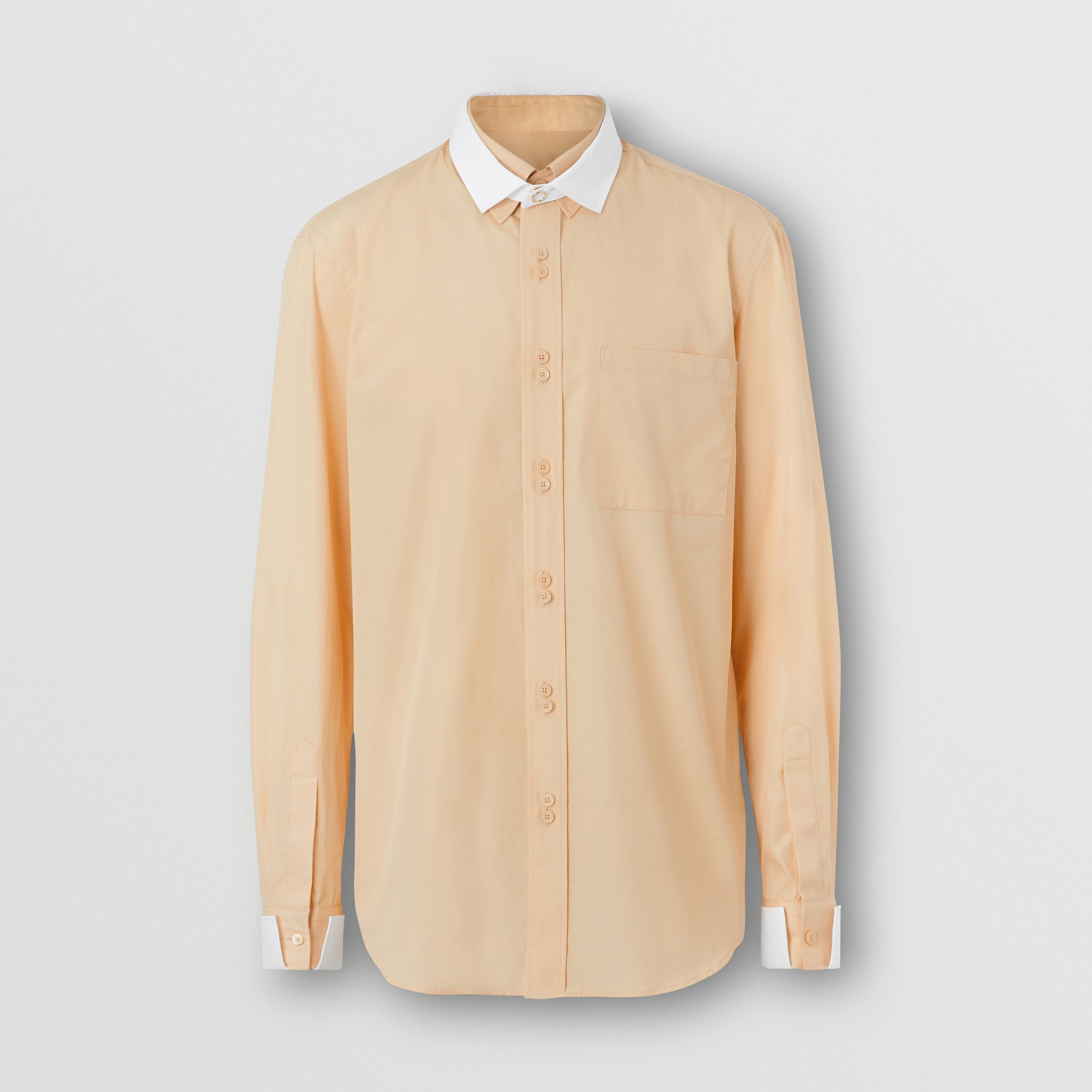 Classic Fit Detachable Collar Cotton Poplin Shirt in Buttermilk - Men | Burberry - 4