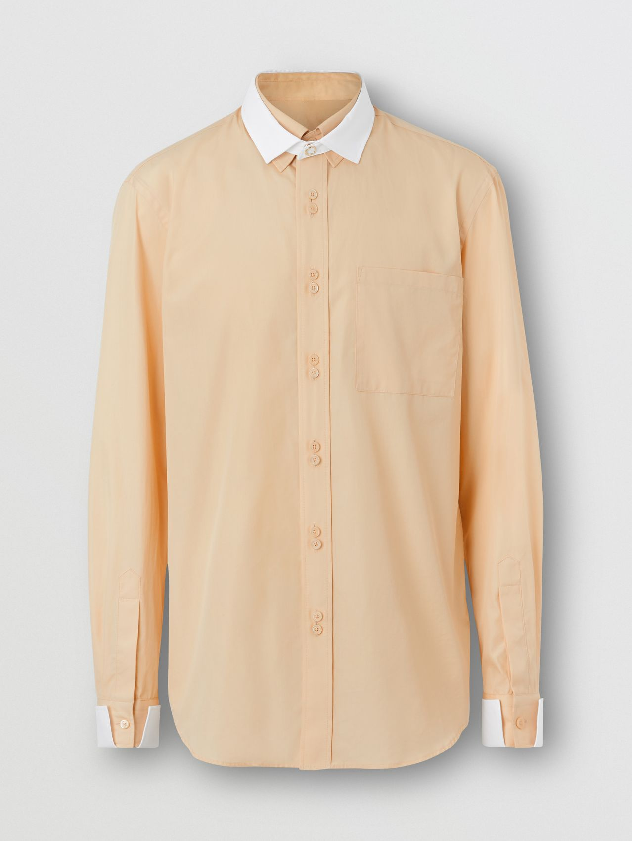 Classic Fit Detachable Collar Cotton Poplin Shirt in Buttermilk
