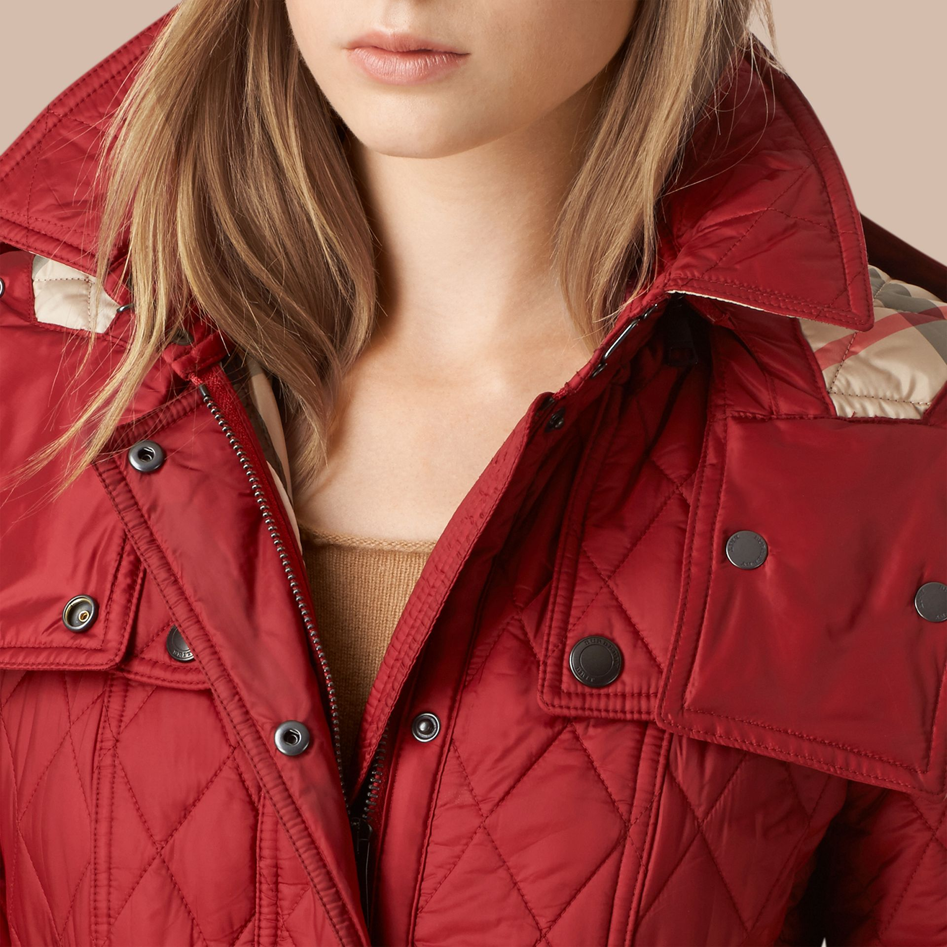 Quilted Trench Jacket with Detachable Hood Dark Crimson - gallery image 4