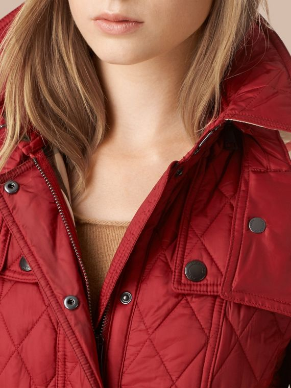 Quilted Trench Jacket with Detachable Hood Dark Crimson - cell image 3