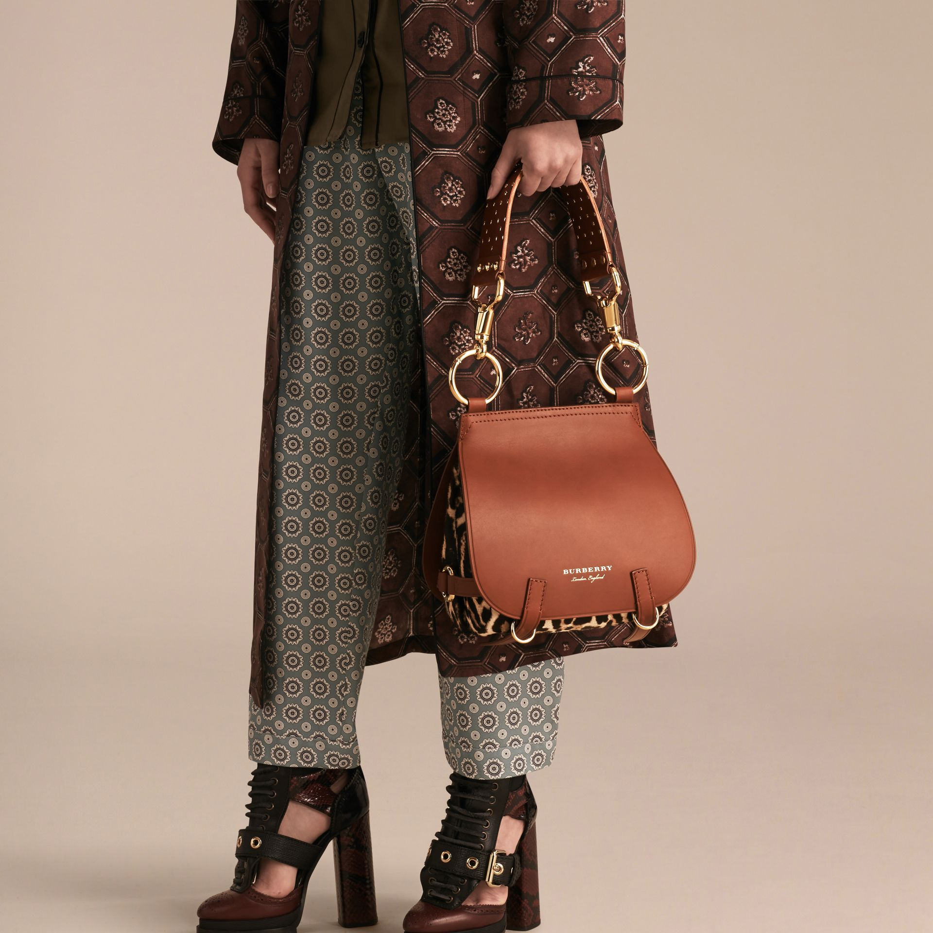 Tan The Bridle Bag in Leopard-print Calfskin and Leather - gallery image 3