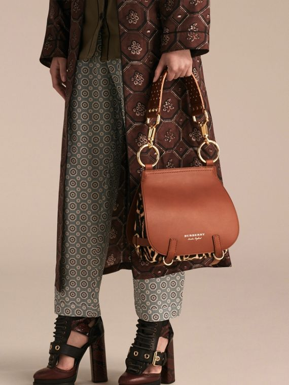 The Bridle Bag in Leopard-print Calfskin and Leather in Tan - Women | Burberry United States - cell image 2