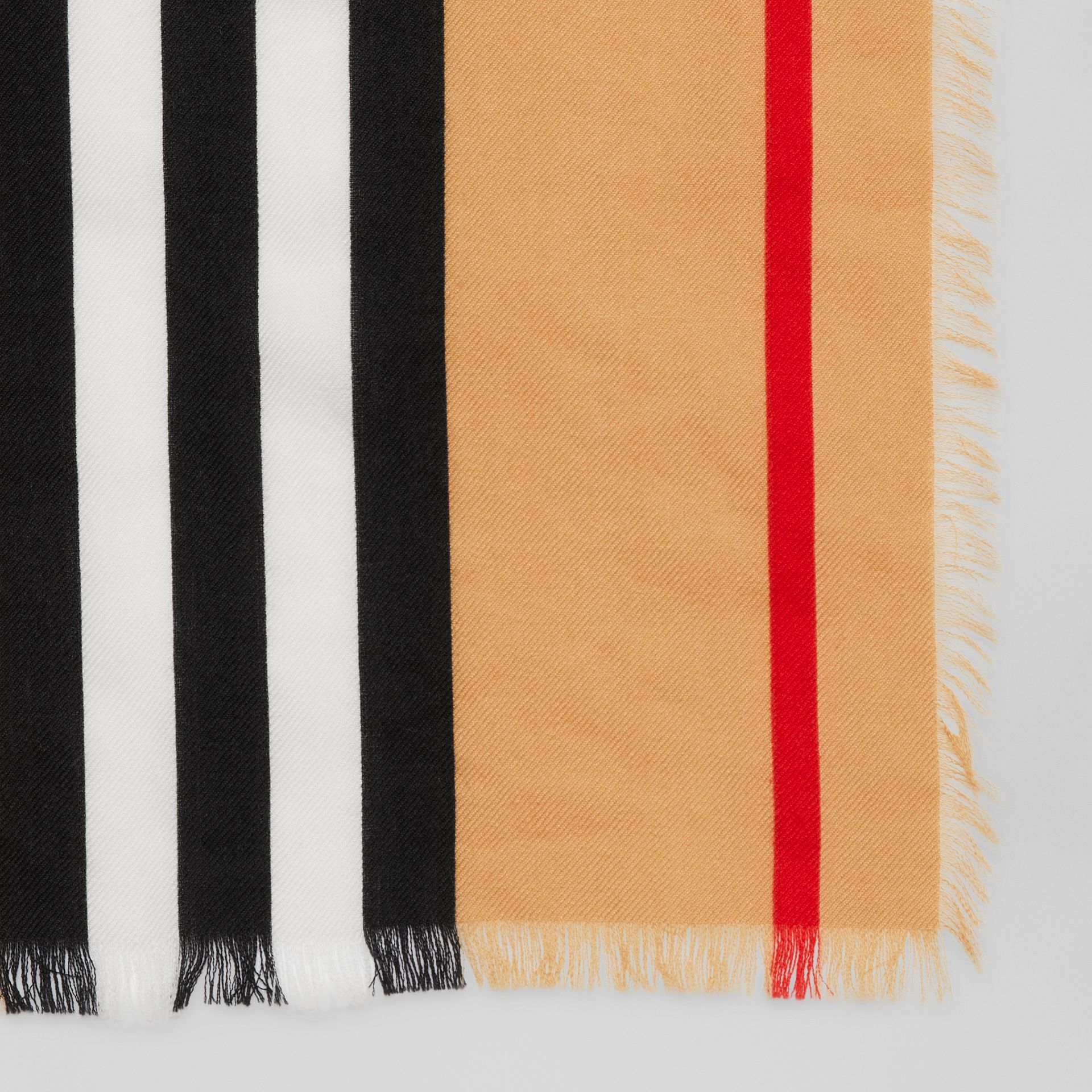 Icon Stripe Lightweight Cashmere Scarf in Chalk White | Burberry - gallery image 1
