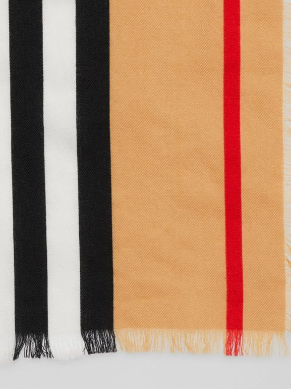 Icon Stripe Lightweight Cashmere Scarf in Chalk White | Burberry United States - cell image 1