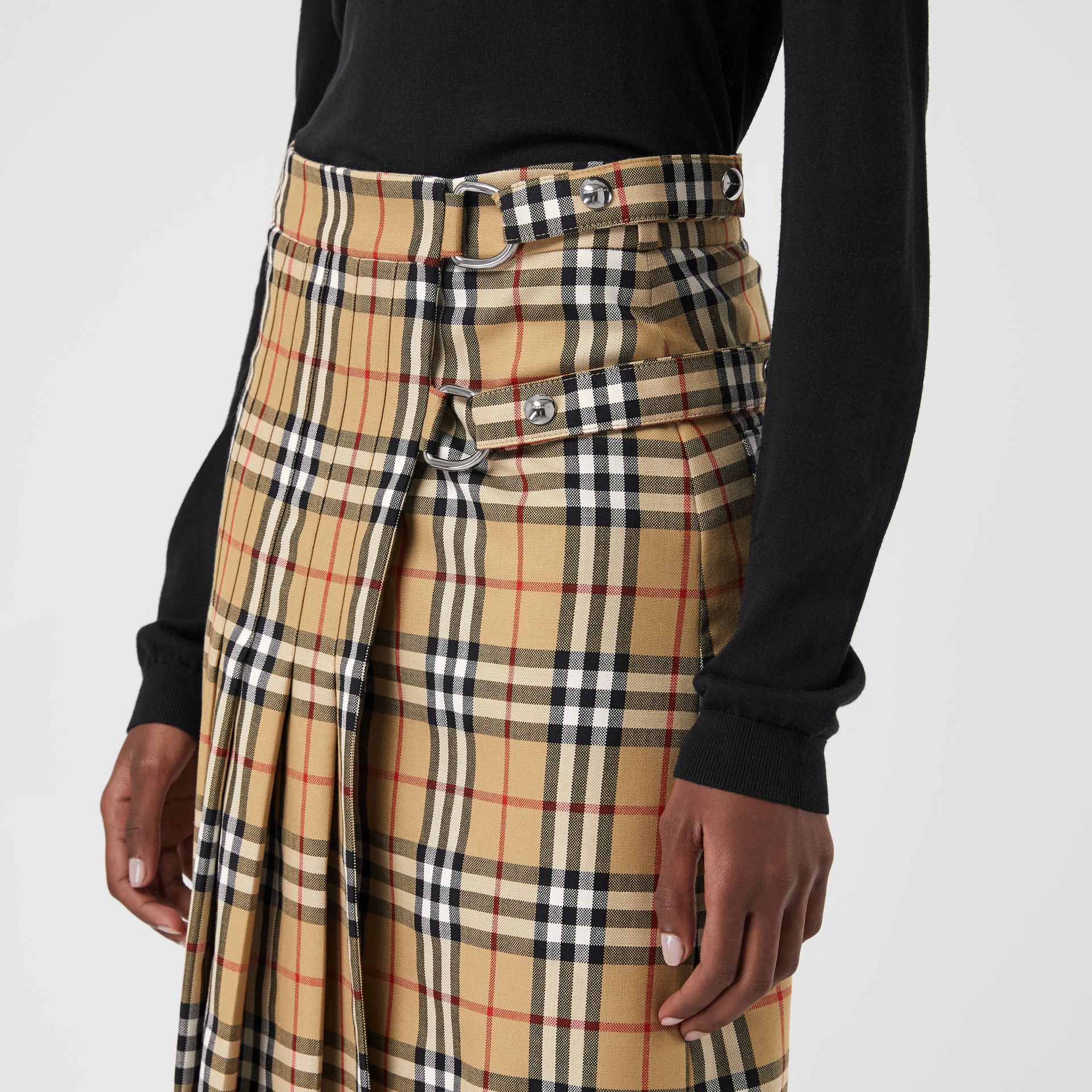 Vintage Check Wool Kilt in Antique Yellow - Women | Burberry - gallery image 1