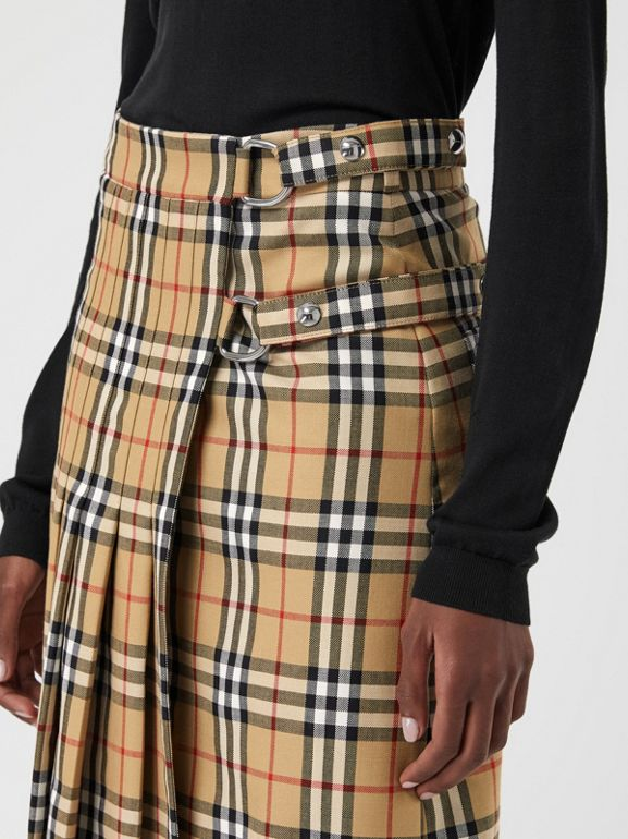 Vintage Check Wool Kilt in Antique Yellow - Women | Burberry - cell image 1