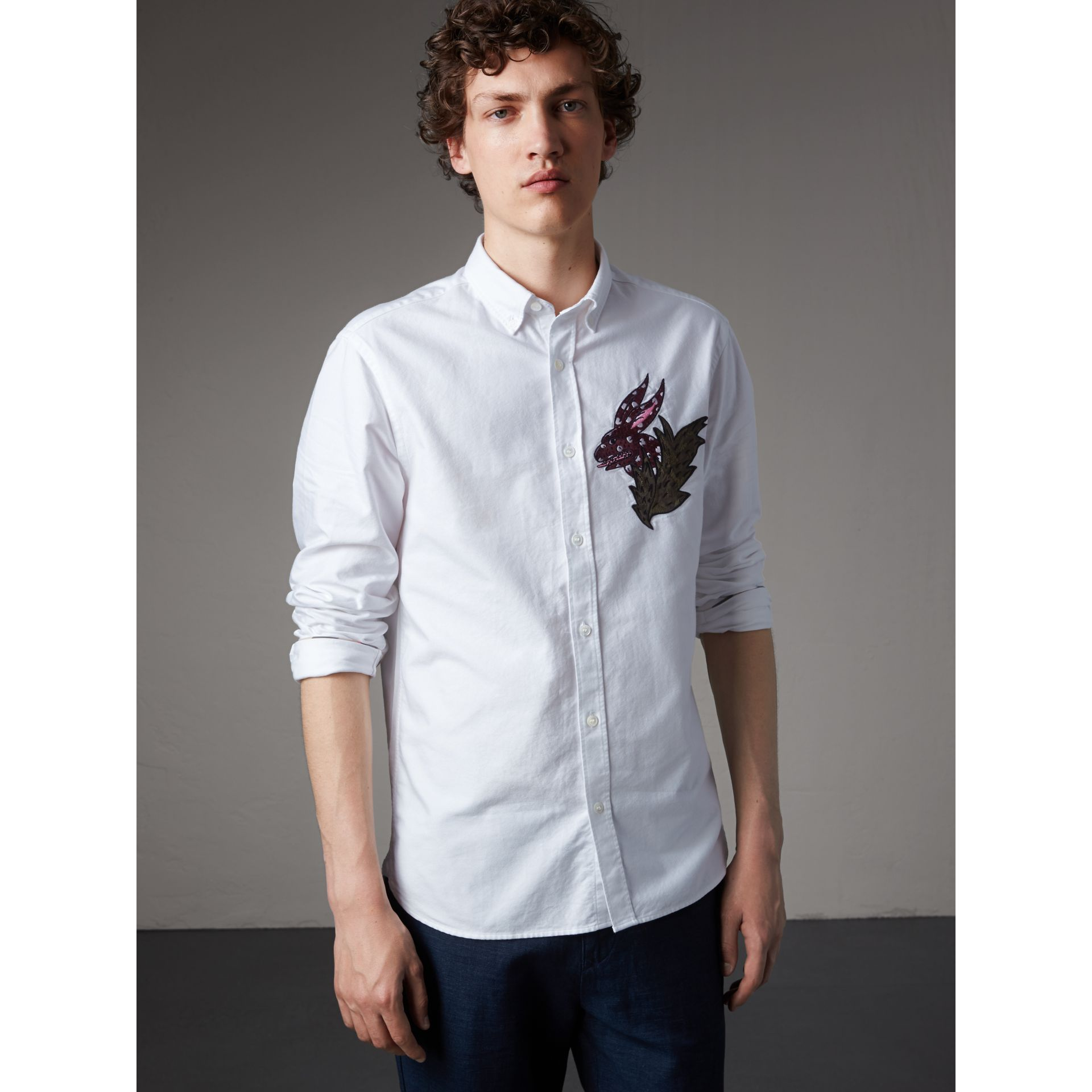 Button-down Collar Beasts Motif Cotton Oxford Shirt in White - Men | Burberry - gallery image 5