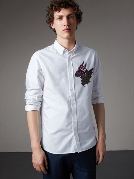 Button-down Collar Beasts Motif Cotton Oxford Shirt in White
