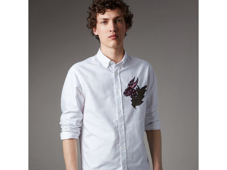 Button-down Collar Beasts Motif Cotton Oxford Shirt in White - Men | Burberry - cell image 4