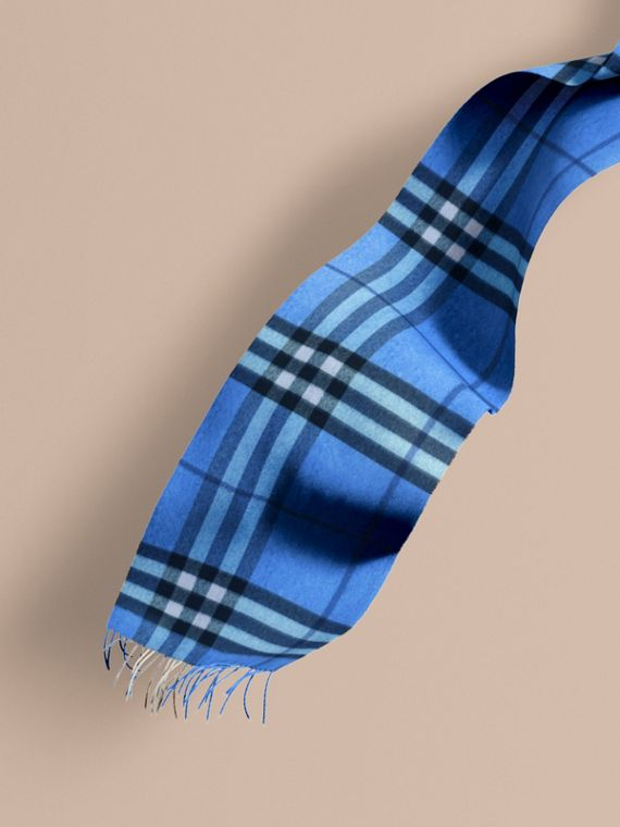 The Classic Cashmere Scarf in Check  Bright Cornflower Blue