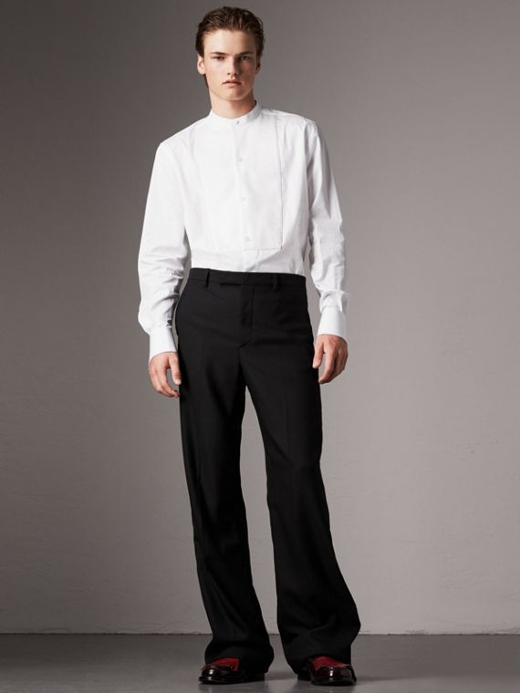 Grandad Collar Plastic Bib Cotton Shirt in White