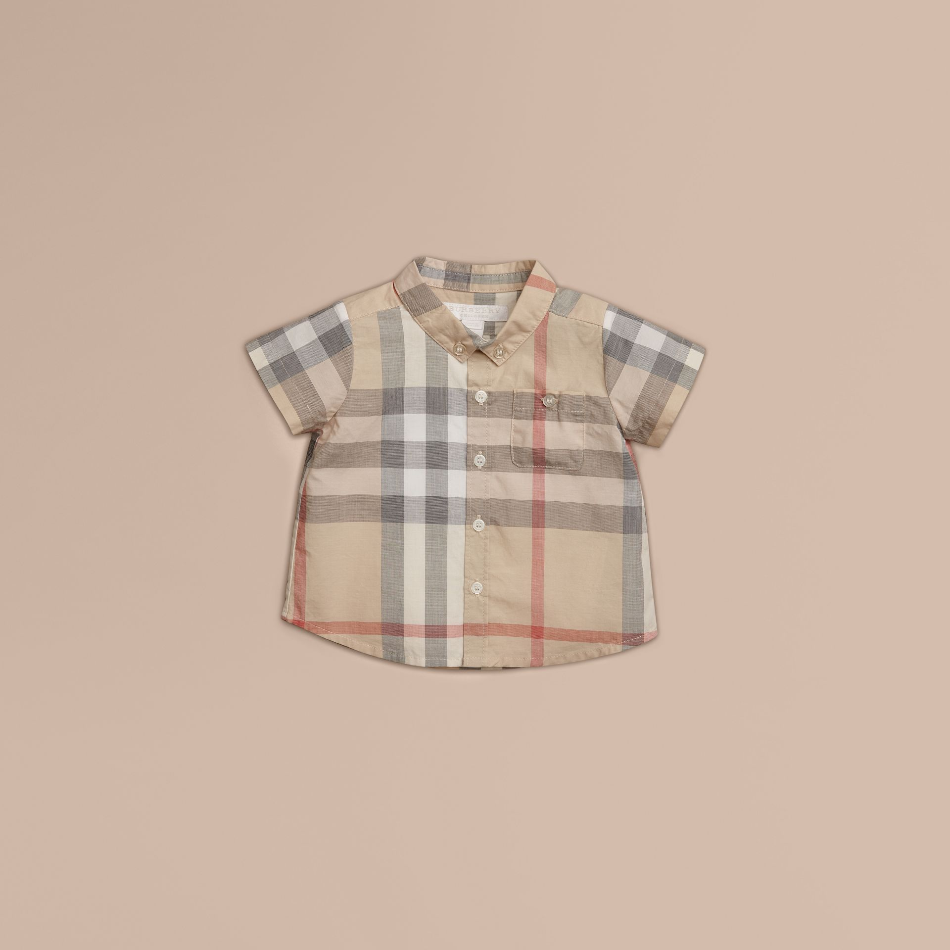 Pale classic check Washed Check Cotton Short Sleeve Shirt - gallery image 1