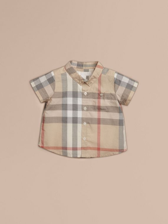Washed Check Cotton Short Sleeve Shirt