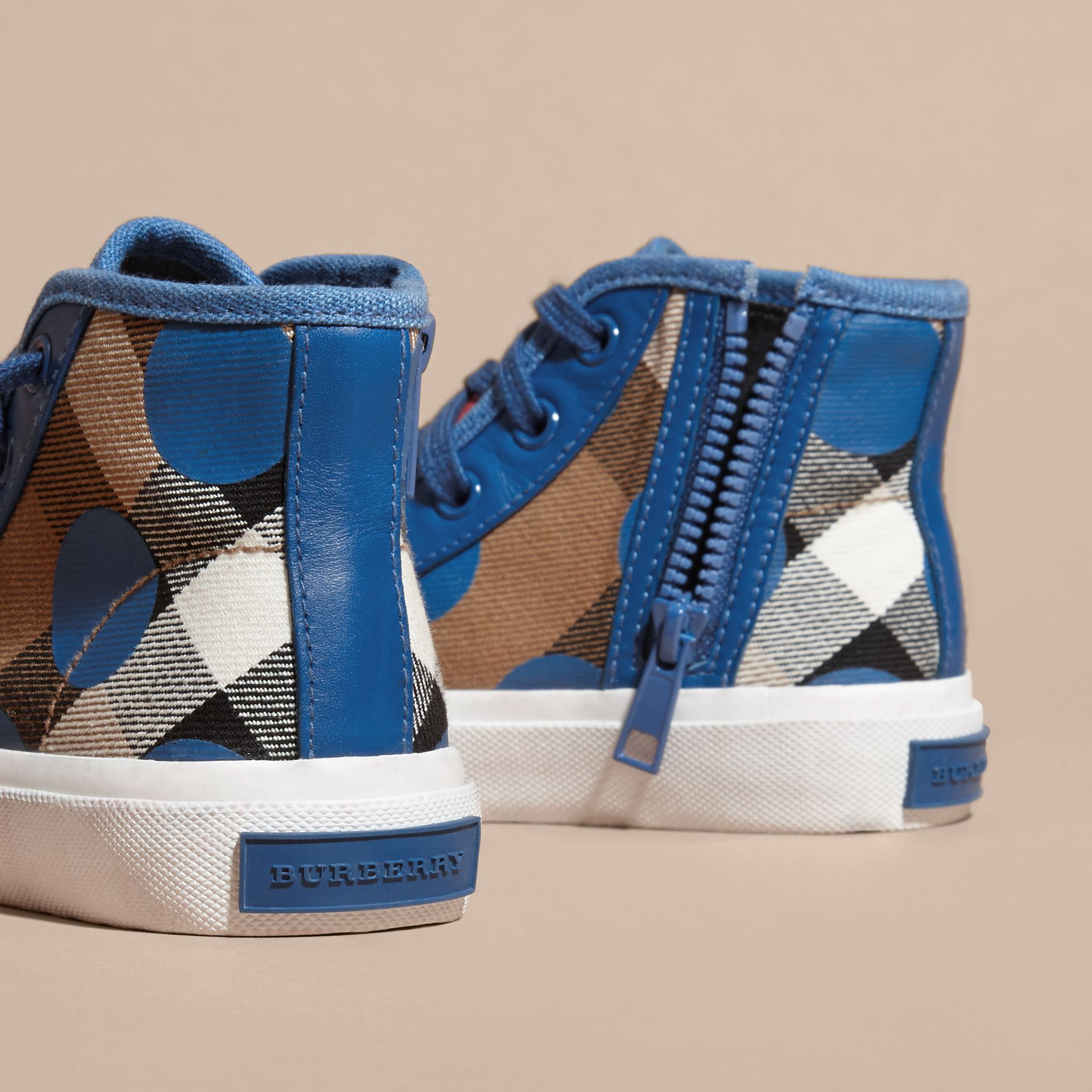 Lupin blue Leather Trim Heart Print Check High-top Trainers Lupin Blue - gallery image 2