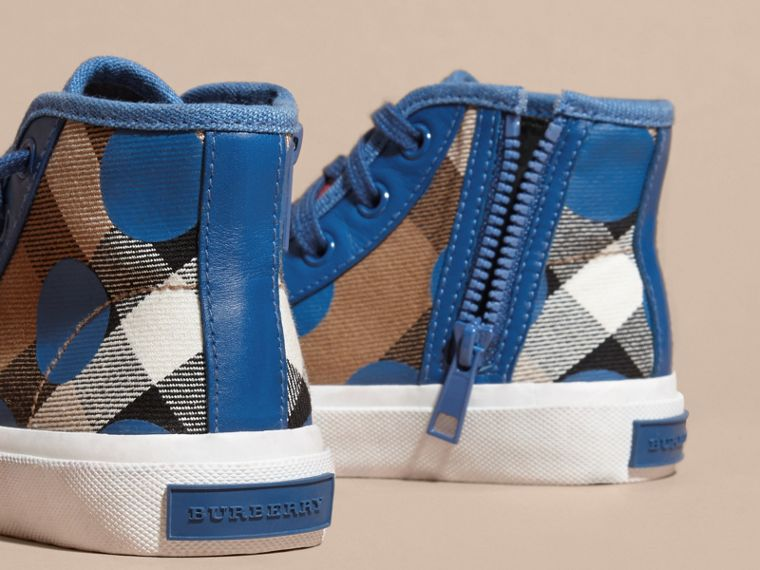 Lupin blue Leather Trim Heart Print Check High-top Trainers Lupin Blue - cell image 1