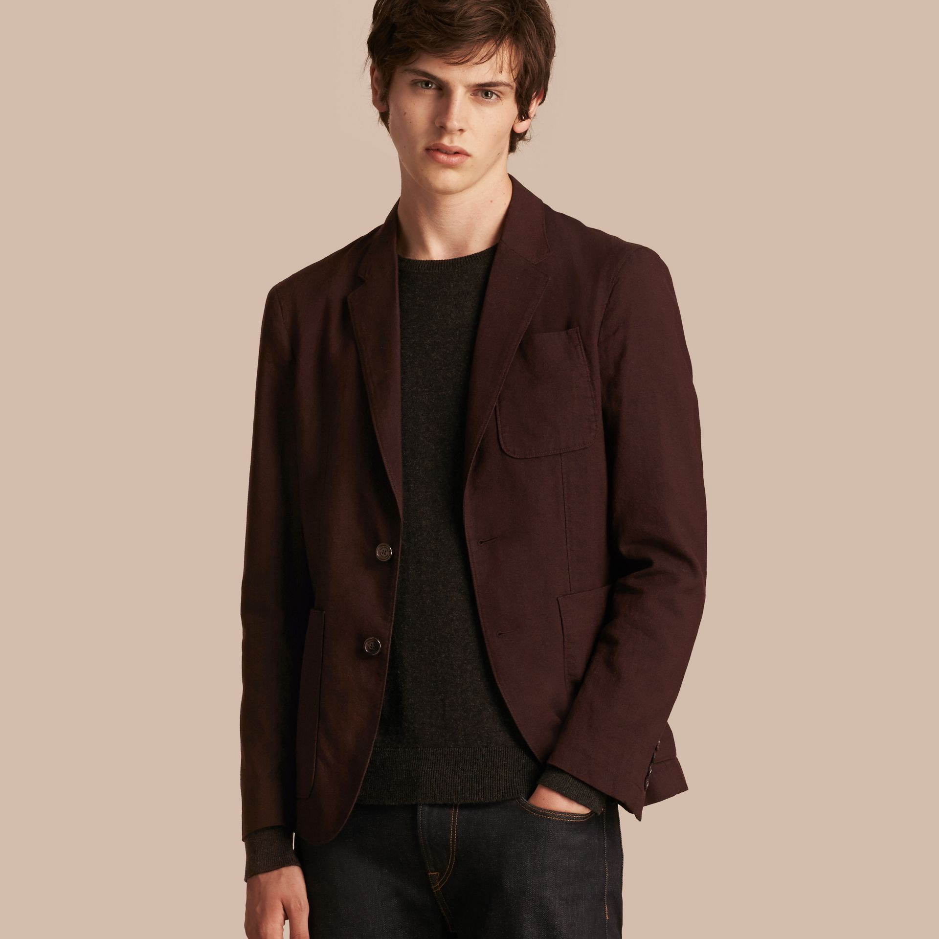 Deep claret Patch Pocket Cotton Wool Blend Tailored Jacket - gallery image 1