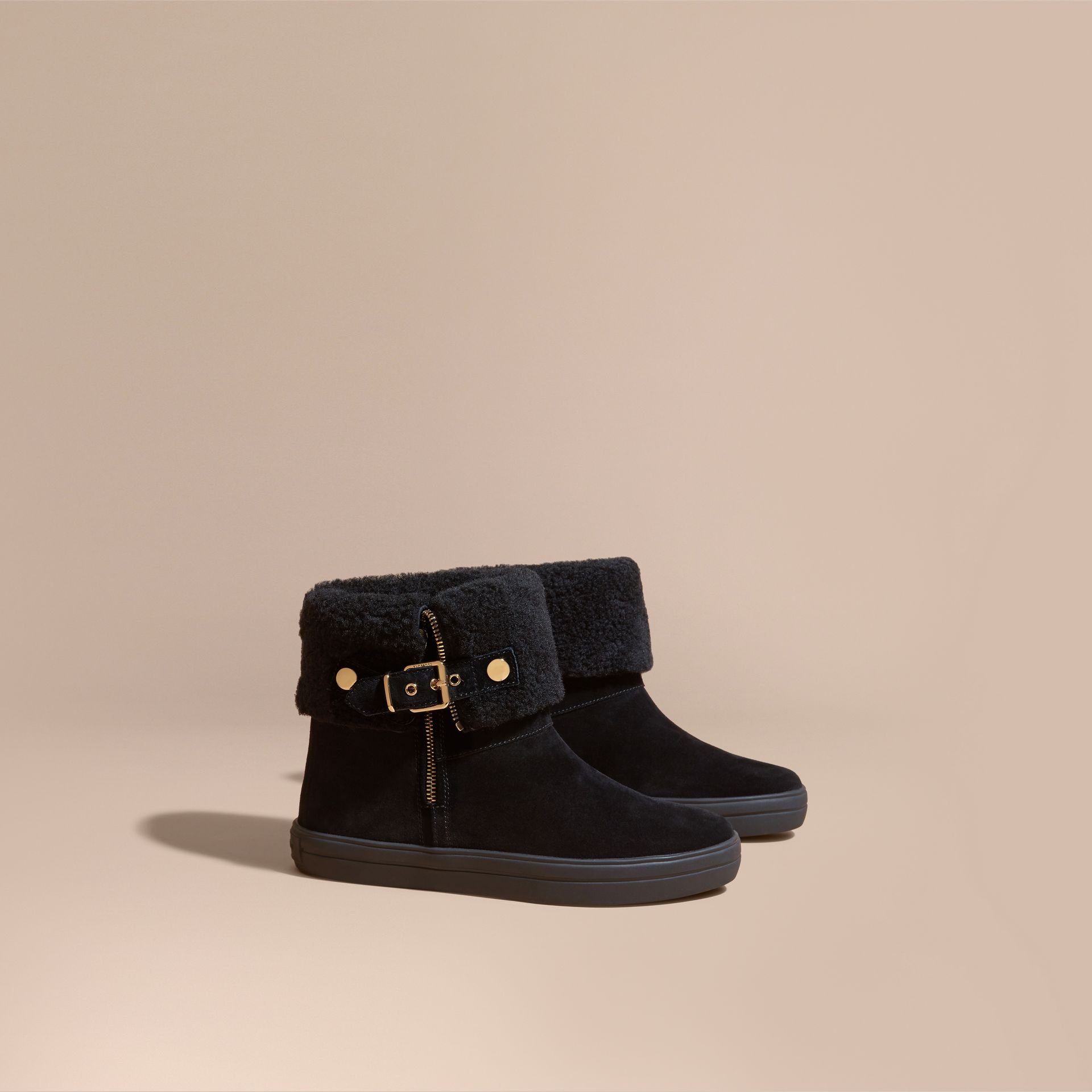 Shearling-lined Suede Ankle Boots in Black - Women | Burberry Canada - gallery image 1