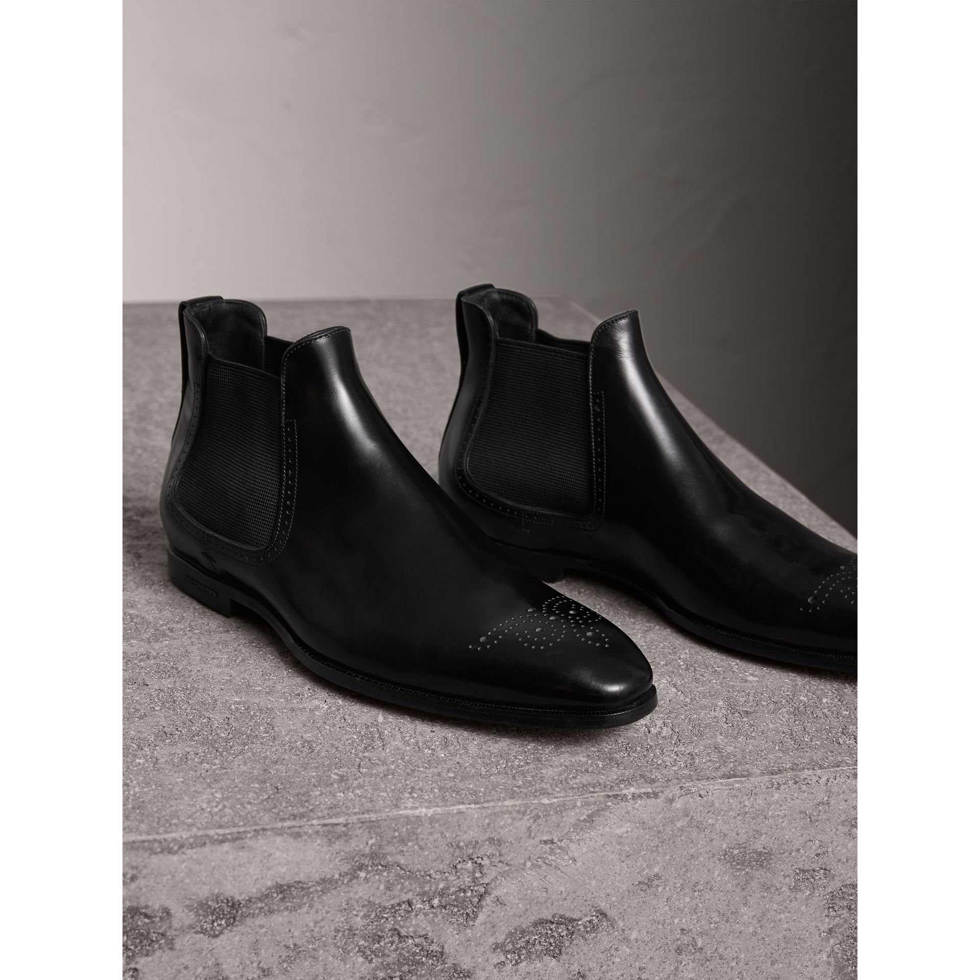 Perforated Detail Leather Chelsea Boots in Black - Men | Burberry United Kingdom - gallery image 4