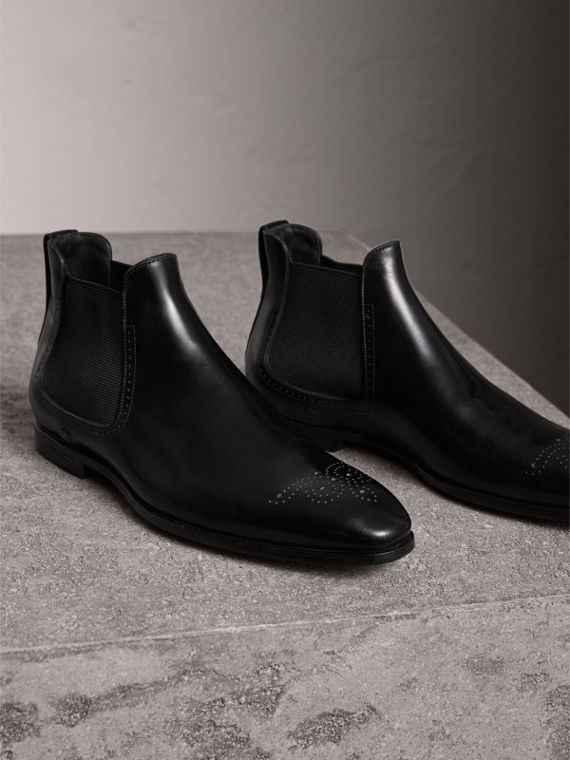 Perforated Detail Leather Chelsea Boots in Black - Men | Burberry Canada - cell image 3