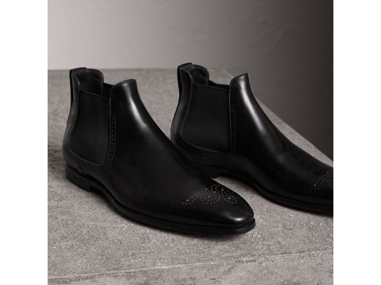 Perforated Detail Leather Chelsea Boots in Black - Men | Burberry - cell image 4