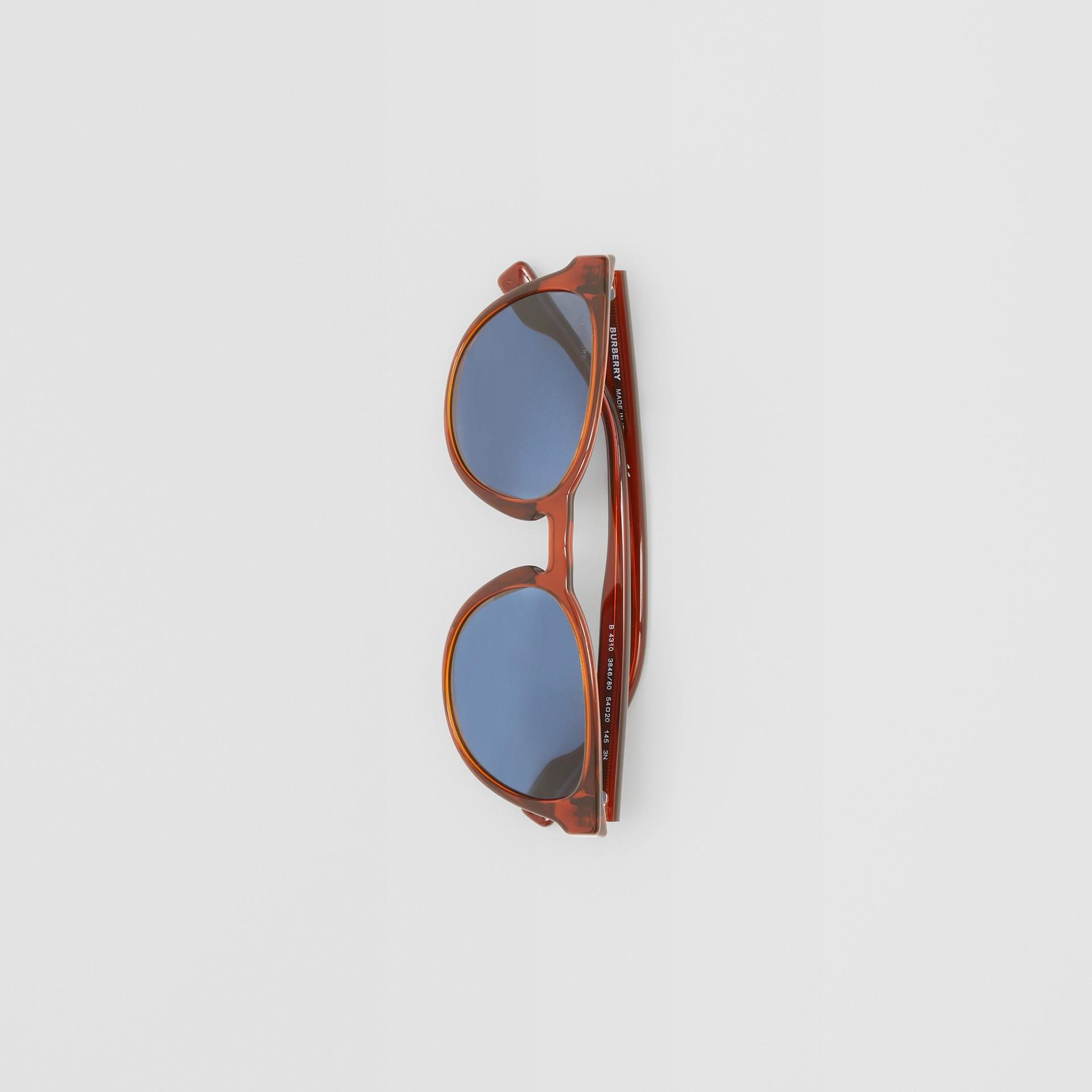Round Frame Sunglasses in Amber - Men | Burberry Australia - gallery image 2