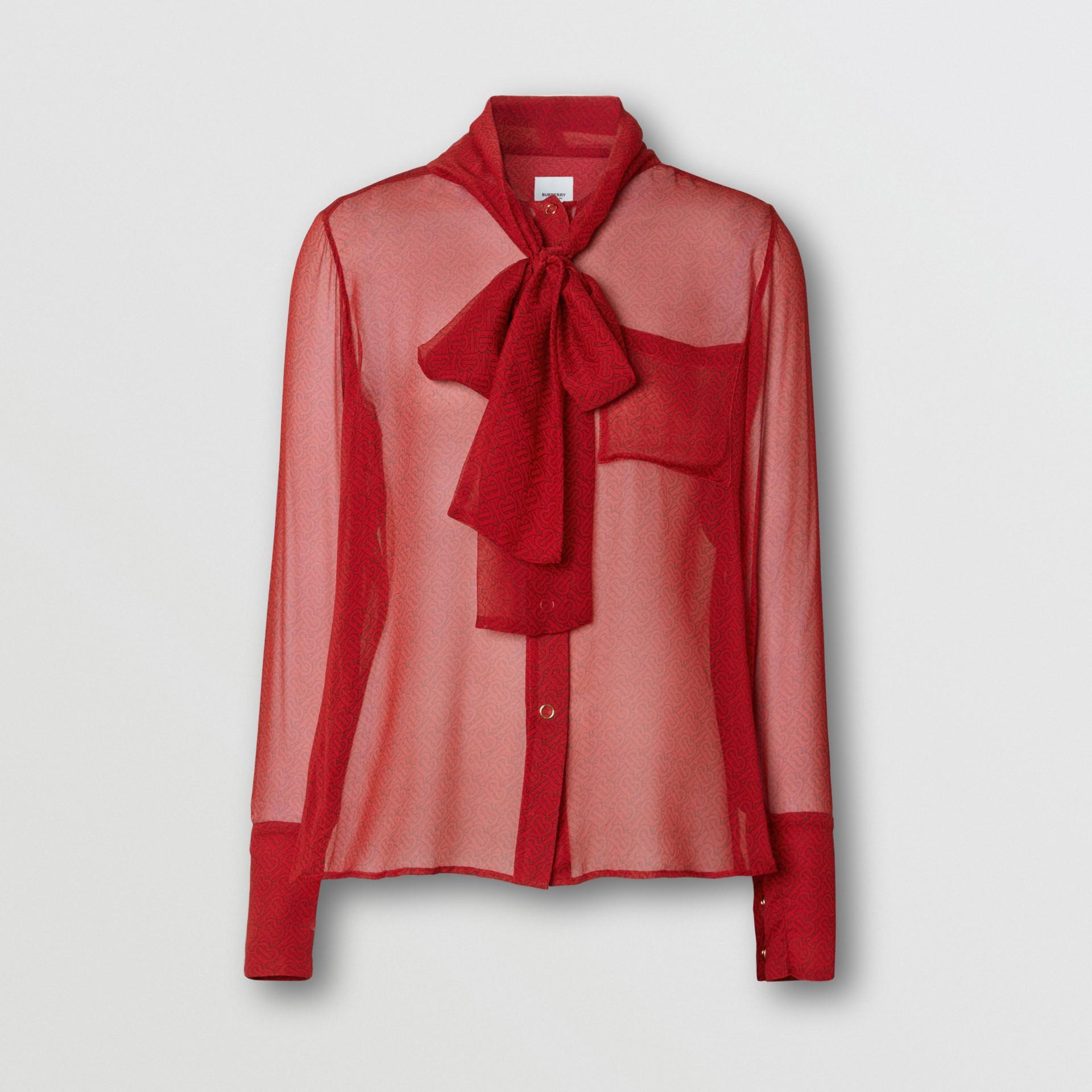 Blusa en gasa de seda con lazada al cuello y estampado de monogramas (Rojo Intenso) - Mujer | Burberry - imagen de la galería 3