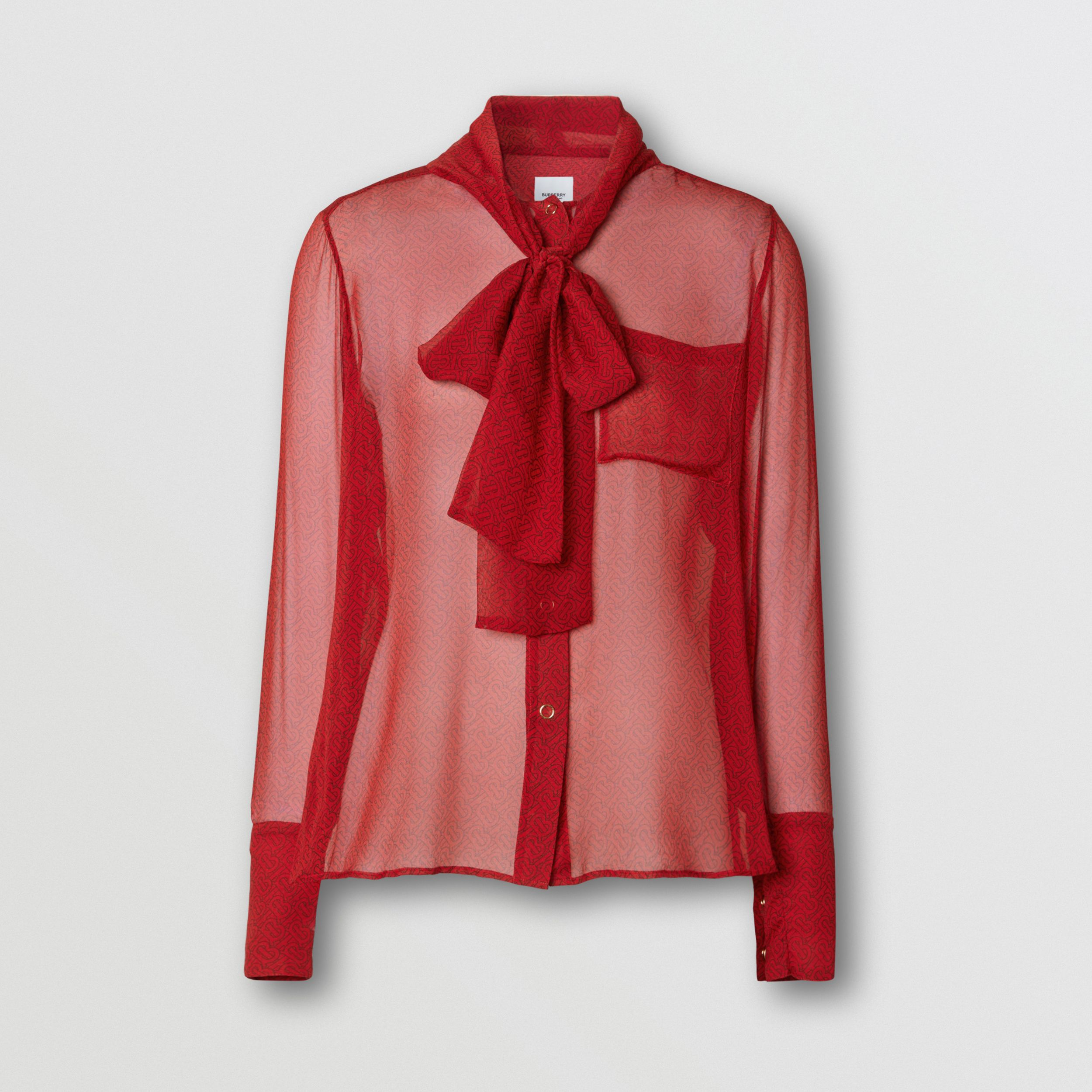 Monogram Print Silk Chiffon Pussy-bow Blouse in Bright Red - Women | Burberry - 4
